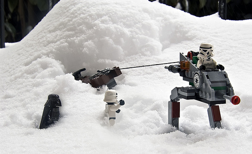 Darth was so embarrassed when he had to call AAA to get his speeder bike out of the snowbank.